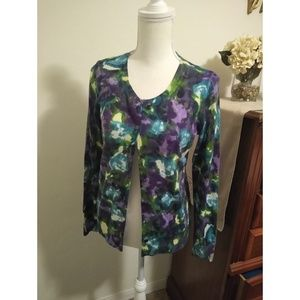 Talbots Size S NWOT purple floral cardigan